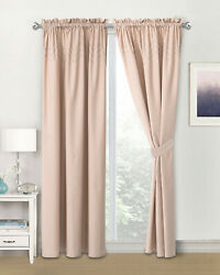 Embroidery Blackout Indoor Curtains for BedroomWith Rod Pocketamp;Tie Back 58quot;x84quot; $44.99