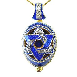 quot;Star of Davidquot; Sterling Silver Faberge Pendant Crystals Blue Enamel Gold plate $109.00