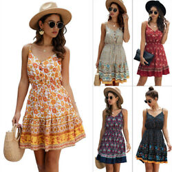 Summer Women V Neck Sleeveless Slip Dress Boho Floral Skirt Printed Beach Dress $14.99