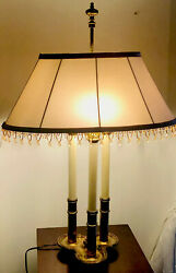 Unique Triangular Adjustable Brass Table Lamp w Oval Shade 3 Way Switch on Base $95.00