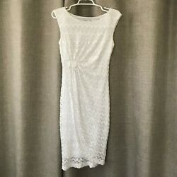 COLLECTION dressbarn Size 4 White Sleeveless Lace Dress Wedding Party Formal $19.99