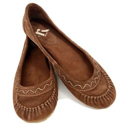 REPORT WOMENS KILTY BROWN LEATHER BALLET FLAT MOCCASIN SLIP ON SHOE SIZE 7.5 $35.00