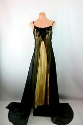 Loralie Dress Black Gold Lace Open Front Satin Train Evening Prom Formal Long 6 $74.99