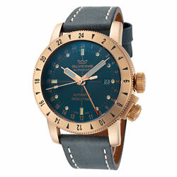 Glycine GL0167 Men's Airman 44 Bronze GMT Automatic 44mm Blue Leather Watch $699.00
