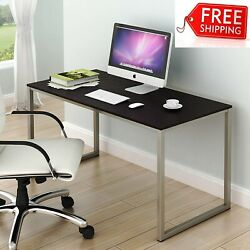 SHW Home Office 48 Inch Computer Desk Silver Espresso $146.99