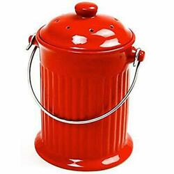Norpro Red 93R 1 Gallon Ceramic Compost Keeper Red $37.57
