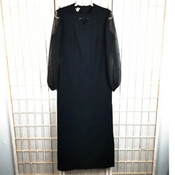 Vintage Puritan Forever Young Black Maxi Dress 1970#x27;s Party Sheer Sleeves Sz 14 $24.47
