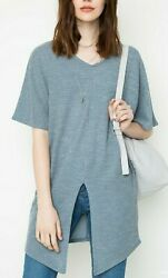 Hayden Oversized Slit Knit Top Size Small New With Tags Slate Blue  $15.00