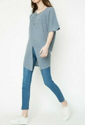 Hayden Over sized Slit Knit Top Size Large New With Tags Slate Blue  $15.00