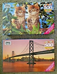 Two RoseArt 500 Piece Puzzles Oakland Bay Bridge Out On A Limb with Kittens