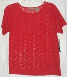 *ALLYSON WHITMORE LACE COVER UP TOP SHIRT SIZE S M L RED WHITE STRETCH NWT $13.99