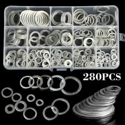 280Pcs Aluminum Washer Gasket Set Flat Ring Sump Plug Oil Seal Kit 12 Sizes C# $11.99
