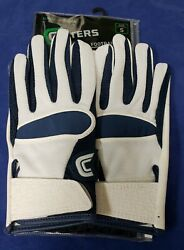 Cutters Football Gloves 017 Original Receiver Jersey White Navy Size Small $24.95