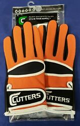 Cutters Football Gloves 017 Original Receiver Orange Black White Size Small $24.95