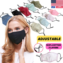 Adjustable Cotton Face Mask Triple Layer Reusable Washable USA SAMEDAY SHIPPING $14.99