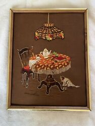 Framed Retro Crewel Art Table For Tea With Stained Lamp And Cat $9.99