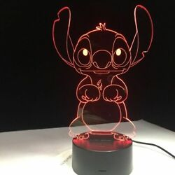 3D Cartoon Stitch Night Light 7 Color Change LED Desk Lamp Touch Room Decor Gift $13.99