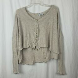 Out From Under Women#x27;s Long Sleeve Crop Cream High Low Blouse Size M $18.00