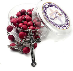 Rose Scent Rosary Jerusalem Petal Red Rare Carved Beads & Silver Plated cross