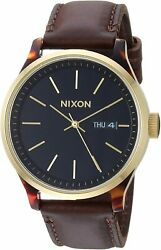 Nixon Men#x27;s Sentry Luxe A12633167 00 42mm Black Dial Leather Watch $24.99