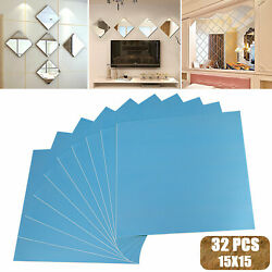 32pcs Mirror Tiles Self Adhesive Back Square Bathroom Decor Wall Stickers Mosaic $12.98