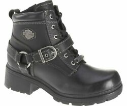 Harley Davidson Women#x27;s TEGAN Black Lether Boots D84424 $112.00