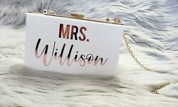 Acrylic Clutch Bride Purse Customized Add your name Bridesmaid Bachelorette Bday