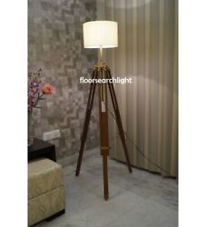 Classical Antique Finish Floor Shade Lamp Designer Brown Wooden Tripod Stand $95.50