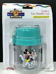 Vintage Mickeys Stuff For Kids Toddler Two Handle Cup Pop up Straw Evenflo NEW $14.99