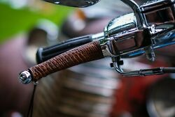 Premium Python Antique Brown Leather Motorcycle Universal Lever Covers Pair $18.99