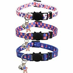 Pet Supplies Lamphyface 3 Pack American Flag Cat Collar With Bell Breakaway 4th $15.69