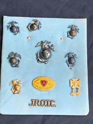 WWII US MARINE CORP INSIGNIA PINS COLLECTION FROM VETERAN 3RD MARINE DIVISION $250.00