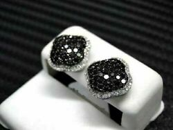 1.00Ct Round Cut Black Diamond Cluster Halo Stud Earrings 14K White Gold Over $45.29