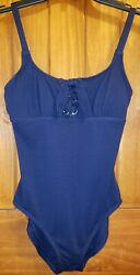 Tommy Bahamas Size 6 Solid Pique Scoop Neck Swimsuit Marine Navy Blue 1 Piece $39.00