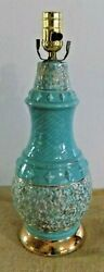 Vintage Table Lamp Mid Century Modern Turquoise Blue Teal Gold Atomic $88.78