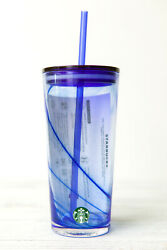 STARBUCKS 2020 SUMMER BLUE 18oz. COLD GLASS With Lid and Straw $34.99
