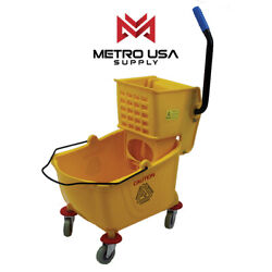 26 Qt- Metro Commercial Mop Bucket with Side Press Wringer Yellow $43.99