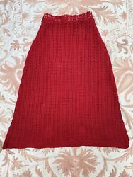 Antique 1930s Cherry Red Crochet Cotton Knit Skirt Separates Slinky Vintage $145.00