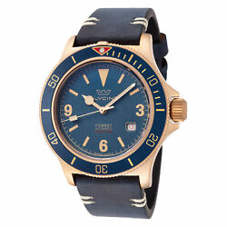 Glycine Men's GL0266 Combat Sub 42 Vintage Bronze Dark Blue Dial Leather Watch $449.00