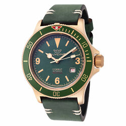 Glycine Men's GL0268 Combat Sub 42 Vintage Bronze Dark Green Dial Leather Watch $449.00