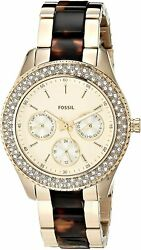 Fossil Women's Stella ES4756 38mm Gold Dial Stainless Steel and Ceramic Watch