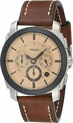 Fossil Men's Machine FS5620 42mm Cream Dial Leather Watch $39.99