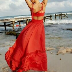 Free People Endless Summer Santa Maria Red Maxi Dress XS Rare $149.00