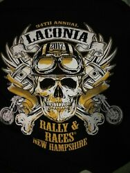 Laconia NH  Bike Week Rally Sz L 🌟Black T Shirt Mens  Motorcycle NWOT $12.70