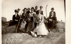 Real Photo Postcard: Hiking Group Men in Suits and High Collared Skirted Women $4.00