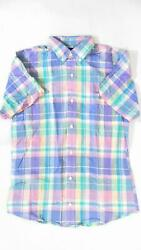 Lands End Boys size L Button Front Plaid Kids Shirt Top Short Sleeve Tee CHOP $6.99