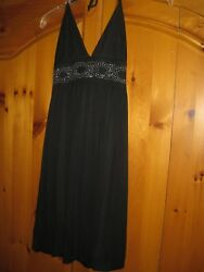 Womens BLACK BEADED Club Party Cocktail Chiffon HALTER DRESS by LIPSTICK Sz S M $29.00