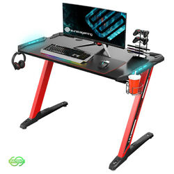 Eureka Z1-S Gaming Desk with LED Lights Controller Stand Cup HolderRed $189.99