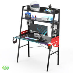 Eureka 43 inch Gaming Desk with RGB LED Lights Storage Capacity Colonel Series $199.99
