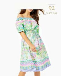 Lilly Pulitzer Camille Off The Shoulder Women#x27;s Dress Multi Island Hopping Eng GBP 74.99